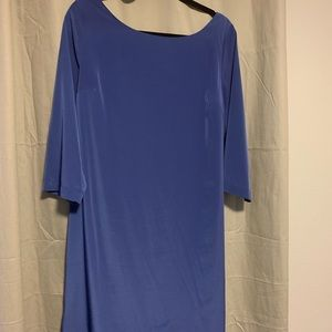 Blue gloss 3/4 sleeve mid length dress
